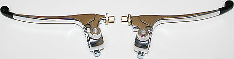 Honda Brake & Clutch Levers - Rubber Tipped Polished Chrome Lever Assemblies